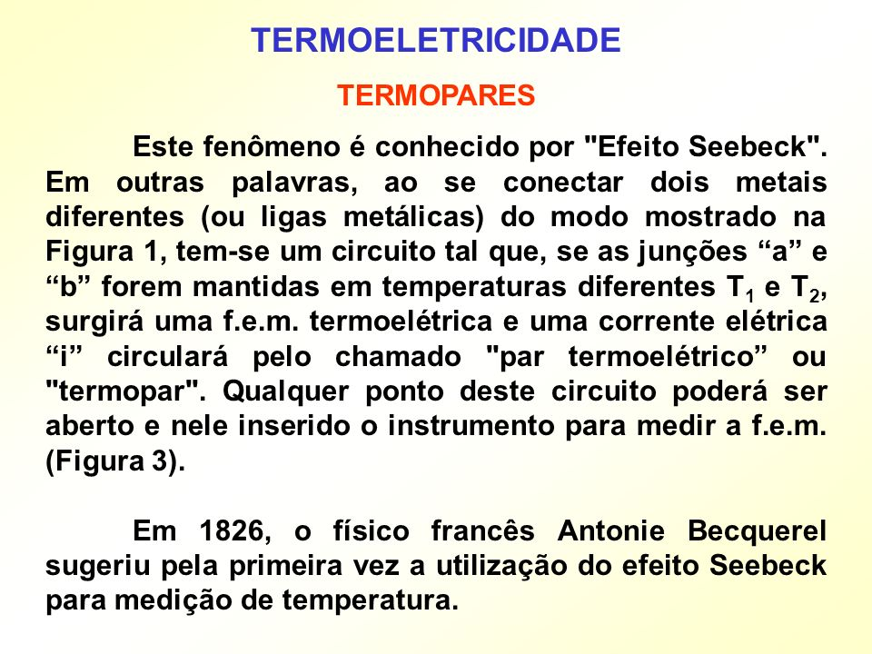 TERMOELETRICIDADE TERMOPARES