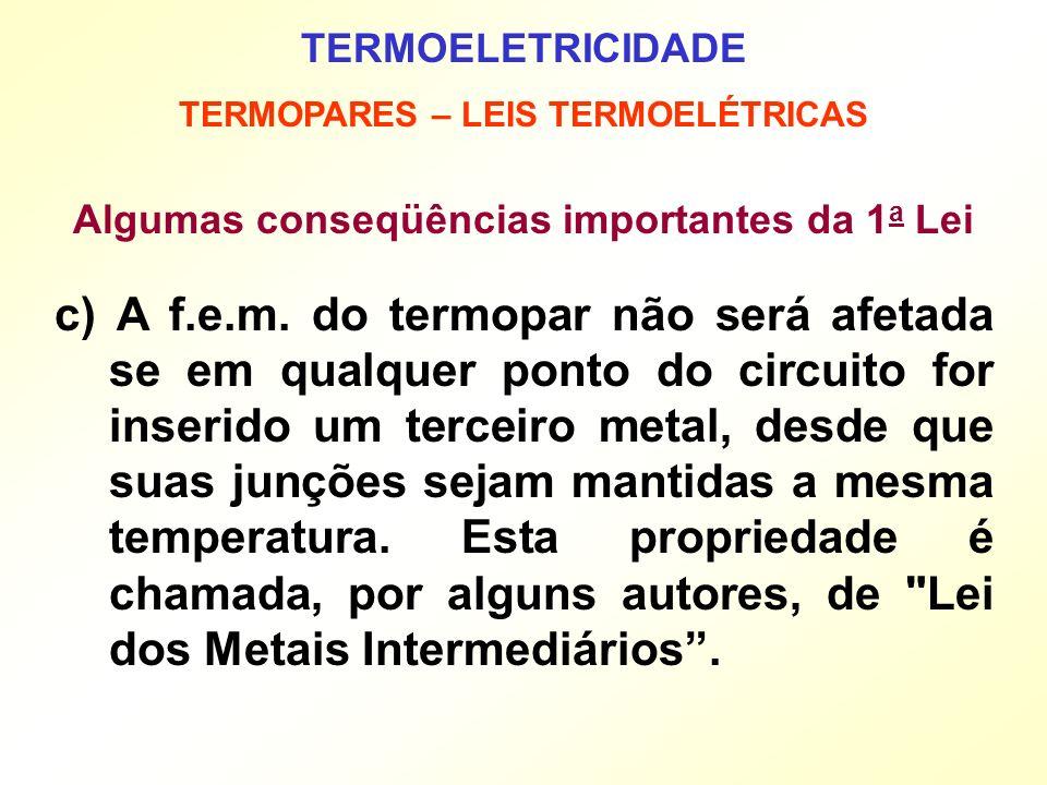 TERMOELETRICIDADE TERMOPARES – LEIS TERMOELÉTRICAS. Algumas conseqüências importantes da 1a Lei.