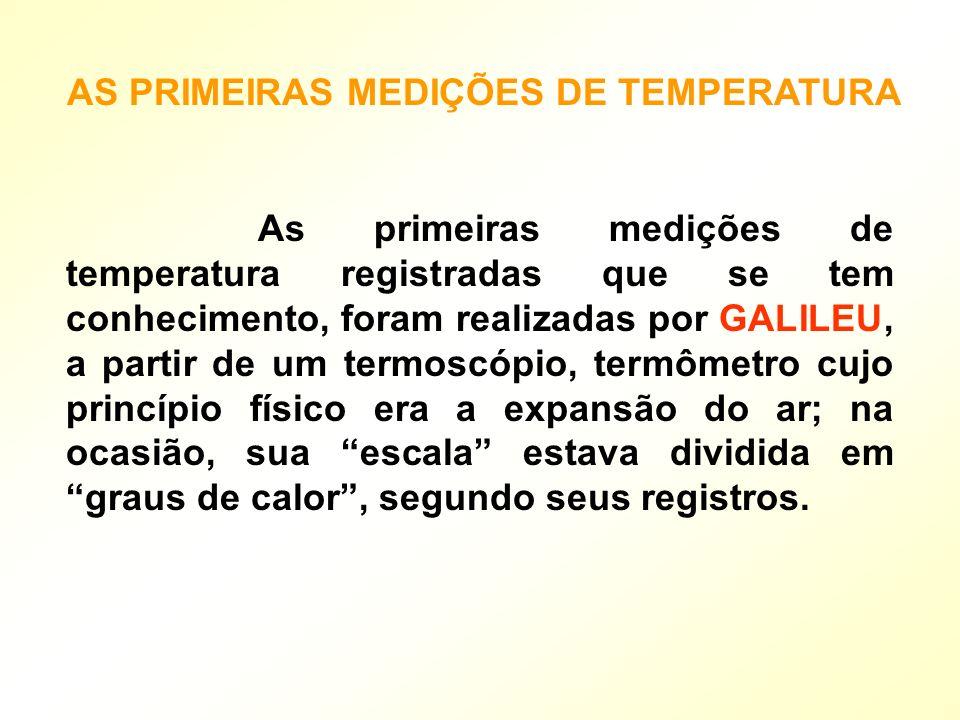 AS PRIMEIRAS MEDIÇÕES DE TEMPERATURA