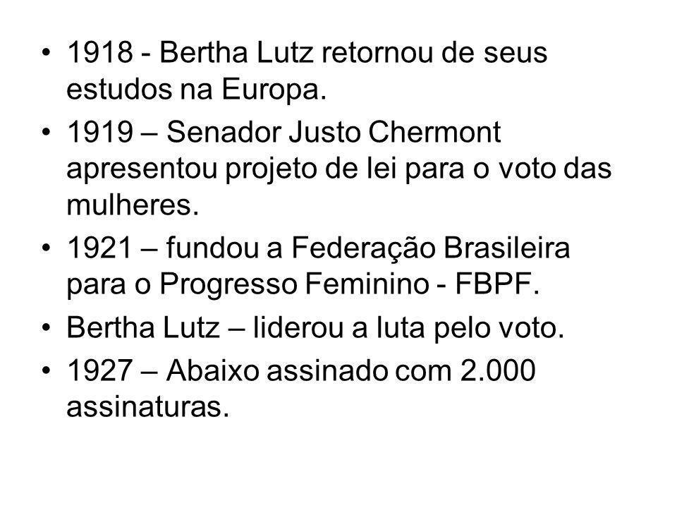 1918 - Bertha Lutz retornou de seus estudos na Europa.