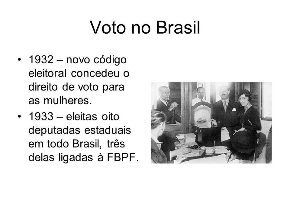 Voto no Brasil 1932 – novo código eleitoral concedeu o direito de voto para as mulheres.
