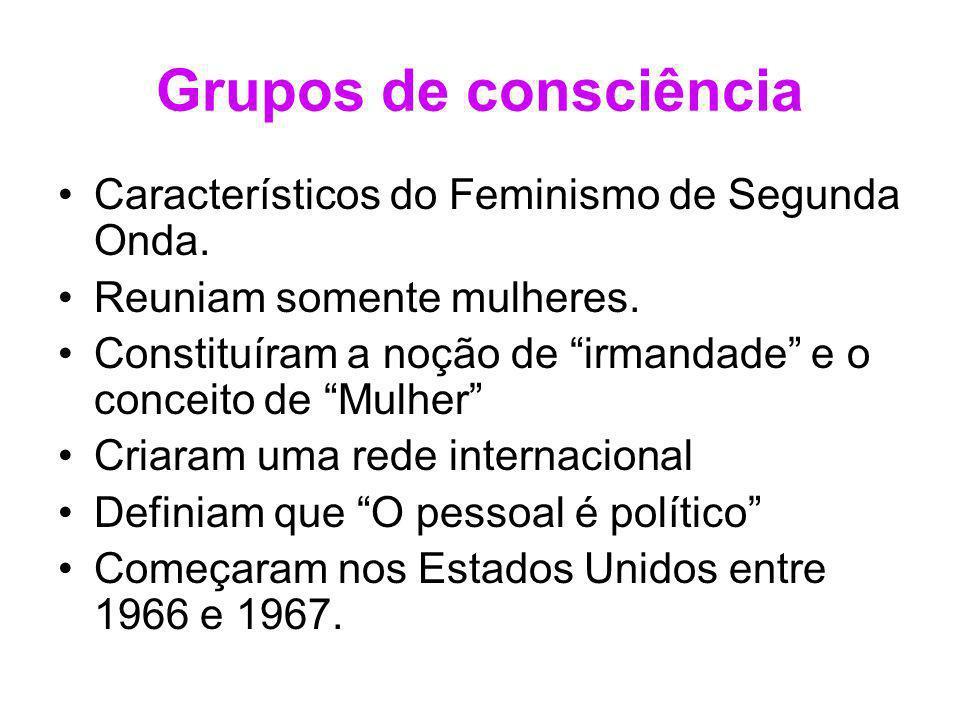 Grupos de consciência Característicos do Feminismo de Segunda Onda.