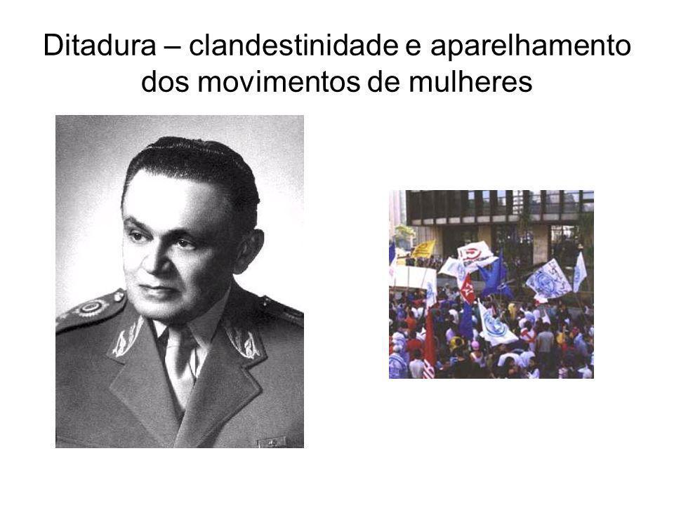 Ditadura – clandestinidade e aparelhamento dos movimentos de mulheres