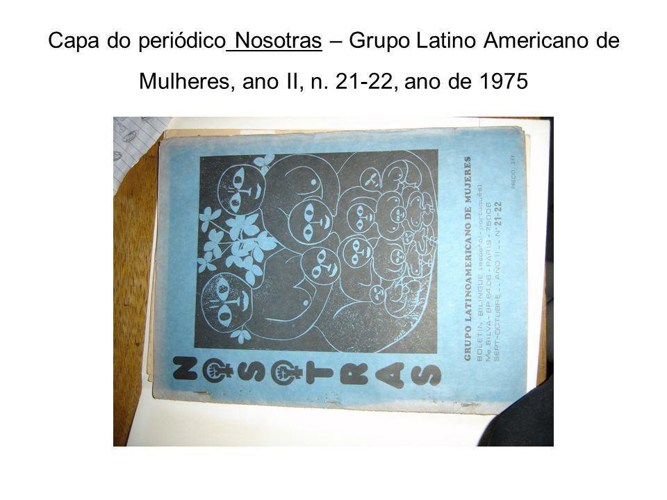 Capa do periódico Nosotras – Grupo Latino Americano de Mulheres, ano II, n. 21-22, ano de 1975
