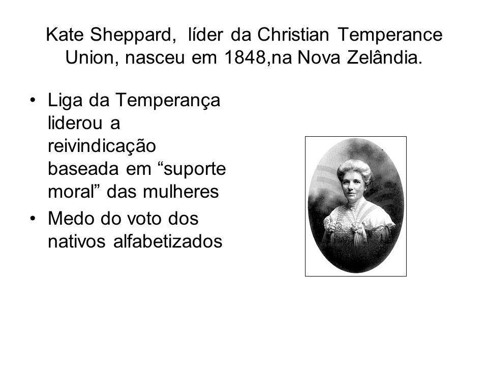 Kate Sheppard, líder da Christian Temperance Union, nasceu em 1848,na Nova Zelândia.