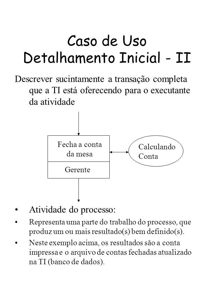 Caso de Uso Detalhamento Inicial - II