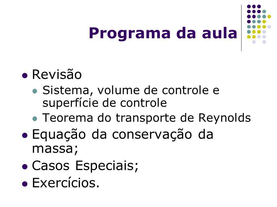 Programa da aula Revisão Equação da conservação da massa;