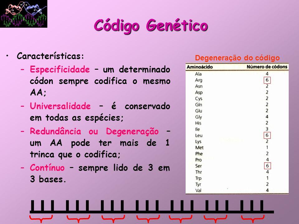 Código Genético Características: