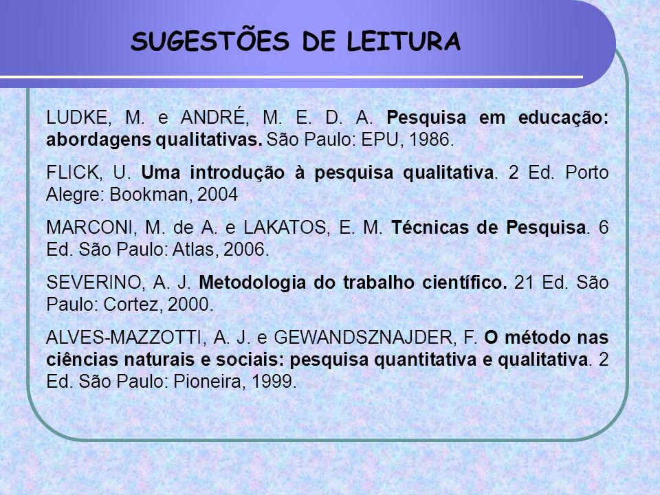 SUGESTÕES DE LEITURA LUDKE, M. e ANDRÉ, M. E. D. A. Pesquisa em educação: abordagens qualitativas. São Paulo: EPU, 1986.