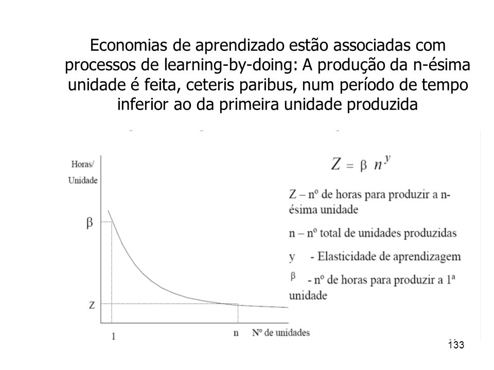 Economias de aprendizado estão associadas com processos de learning-by-doing: A produção da n-ésima unidade é feita, ceteris paribus, num período de tempo inferior ao da primeira unidade produzida