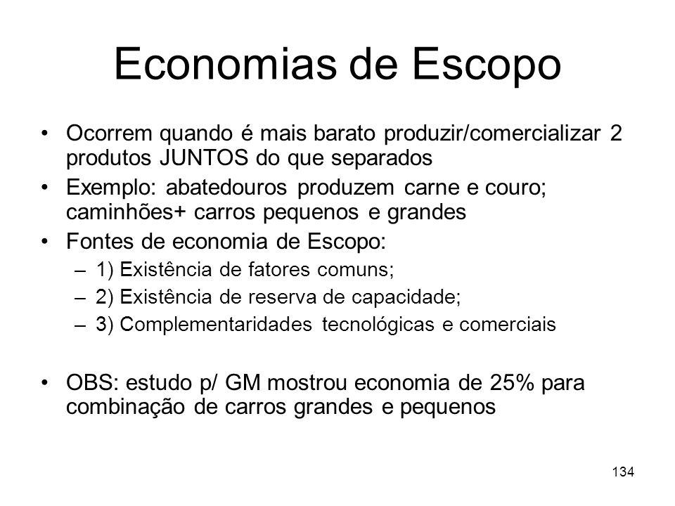 Economias de Escopo Ocorrem quando é mais barato produzir/comercializar 2 produtos JUNTOS do que separados.