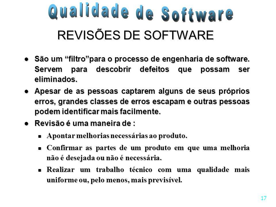 REVISÕES DE SOFTWARE São um filtro para o processo de engenharia de software. Servem para descobrir defeitos que possam ser eliminados.