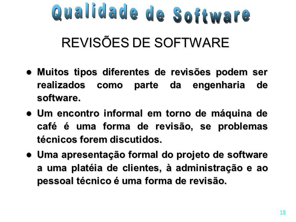 REVISÕES DE SOFTWARE Muitos tipos diferentes de revisões podem ser realizados como parte da engenharia de software.