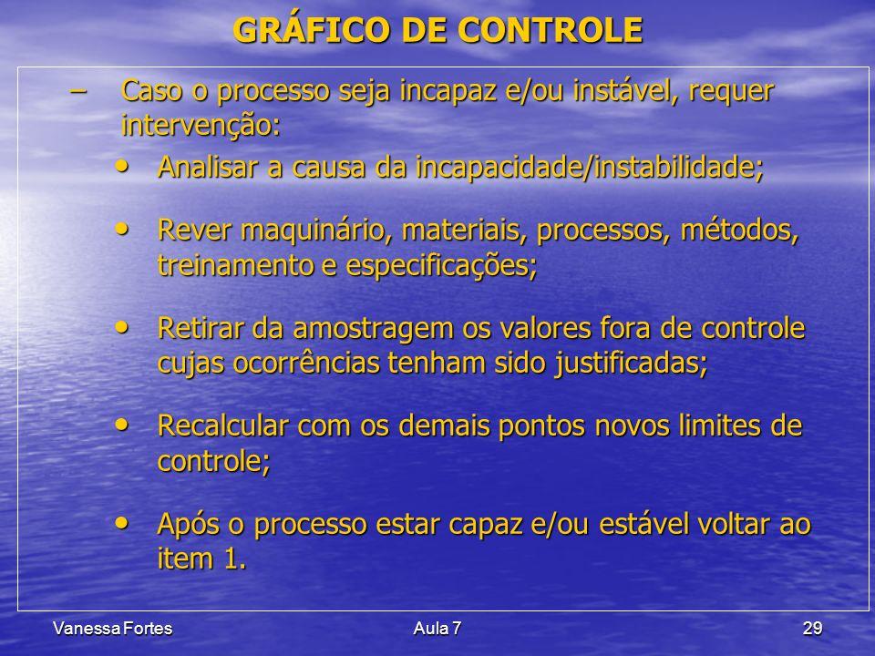 GRÁFICO DE CONTROLE Caso o processo seja incapaz e/ou instável, requer intervenção: Analisar a causa da incapacidade/instabilidade;