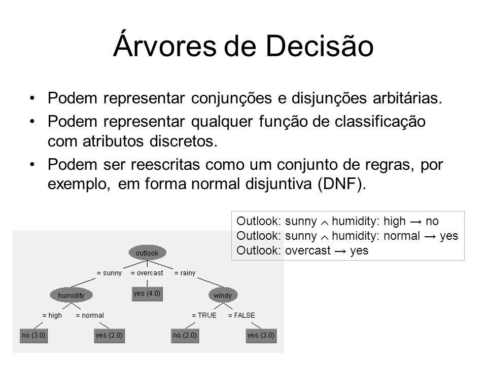 Árvores de DecisãoPodem representar conjunções e disjunções arbitárias. Podem representar qualquer função de classificação com atributos discretos.