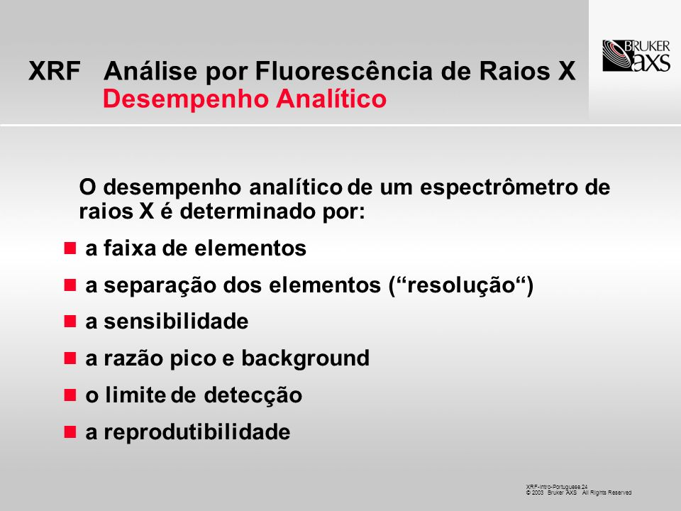 XRF Análise por Fluorescência de Raios X Desempenho Analítico