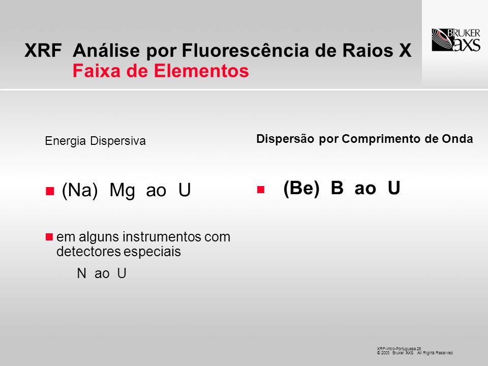 XRF Análise por Fluorescência de Raios X Faixa de Elementos