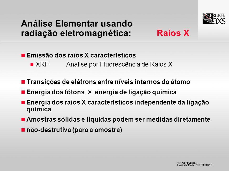 Análise Elementar usando radiação eletromagnética: Raios X