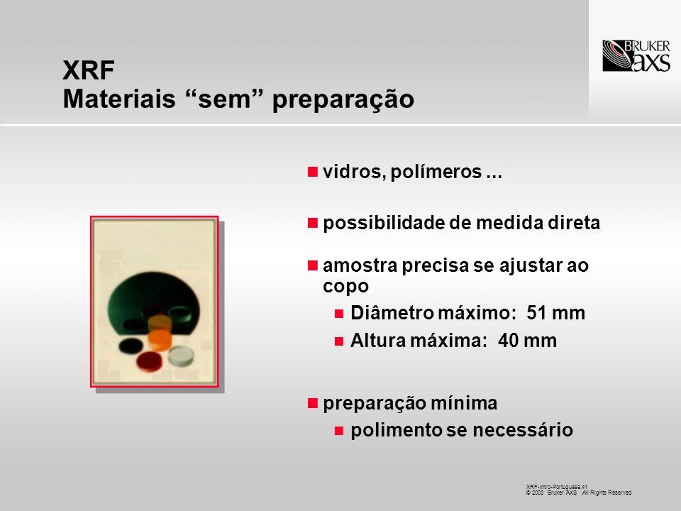 XRF Materiais sem preparação