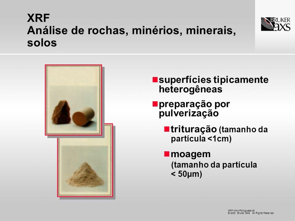 XRF Análise de rochas, minérios, minerais, solos