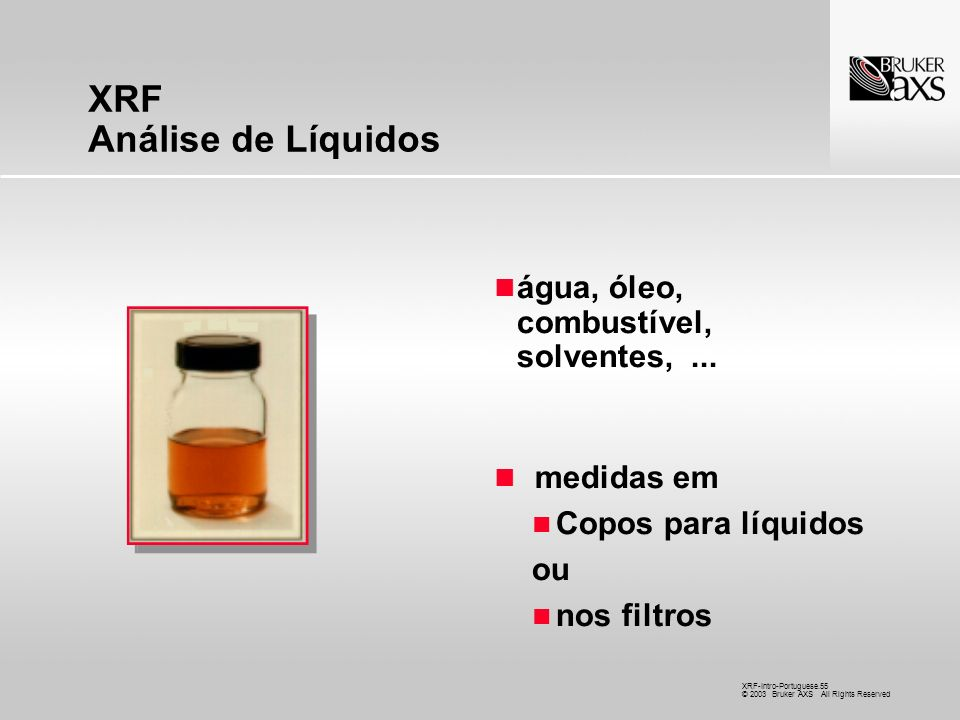 XRF Análise de Líquidos