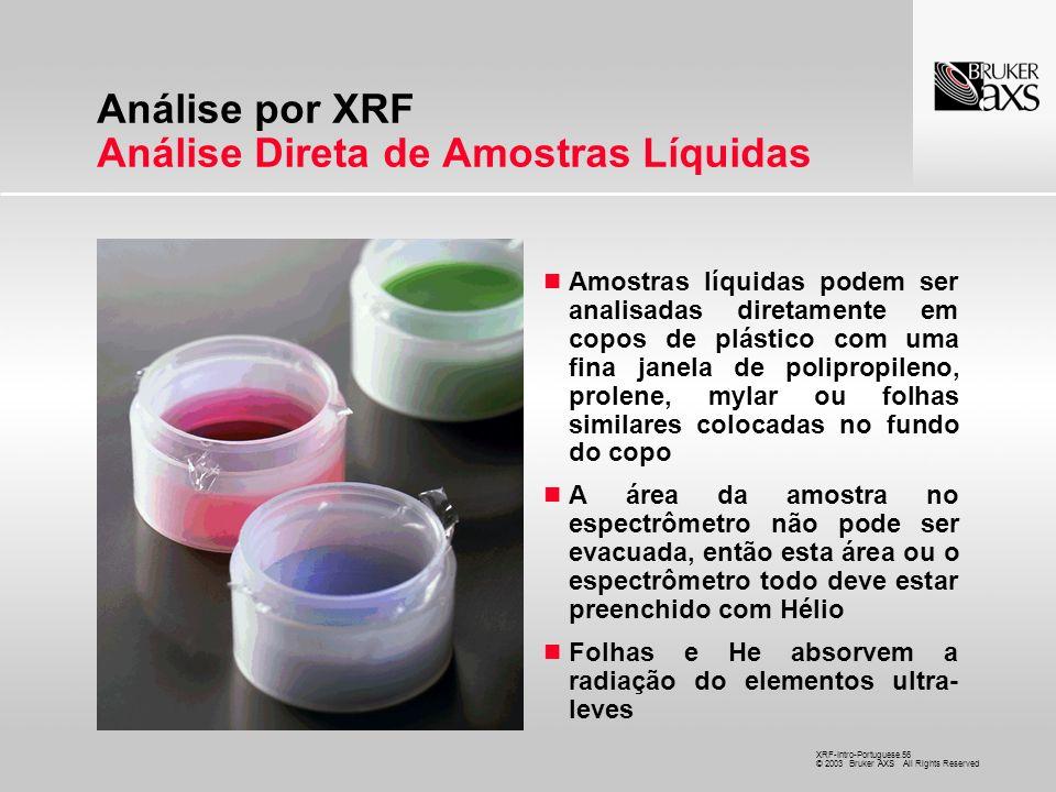 Análise por XRF Análise Direta de Amostras Líquidas