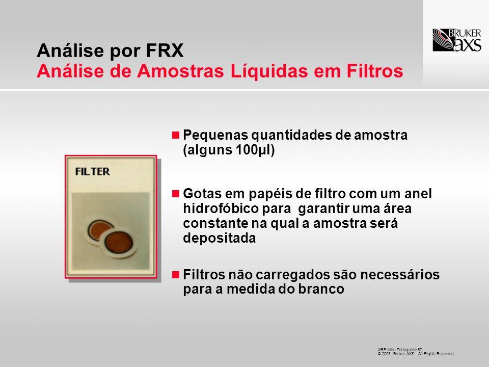 Análise por FRX Análise de Amostras Líquidas em Filtros