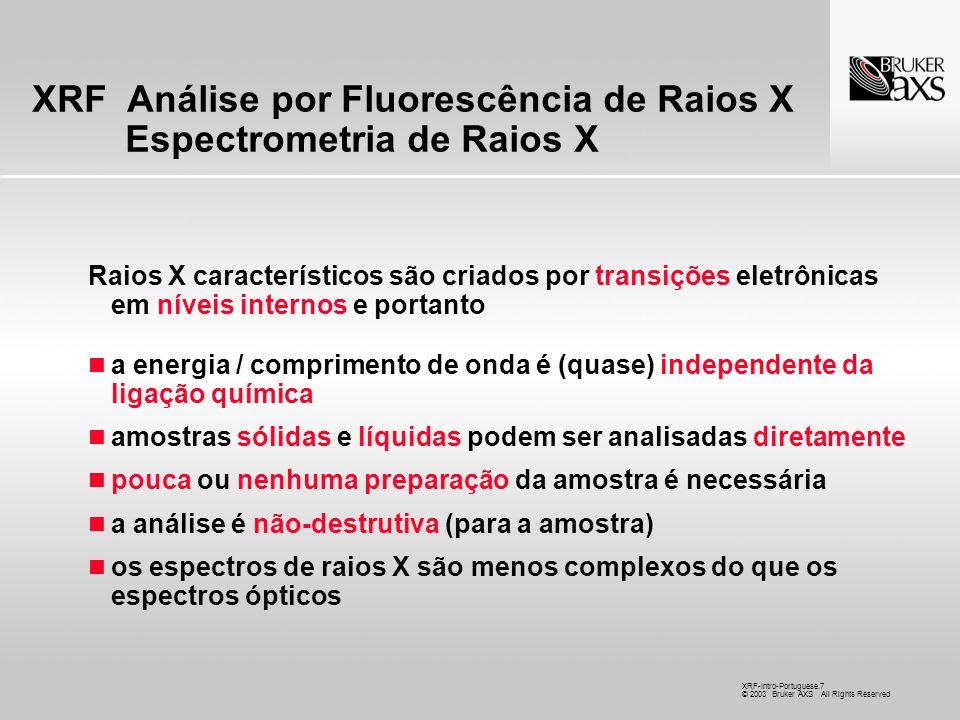 XRF Análise por Fluorescência de Raios X Espectrometria de Raios X