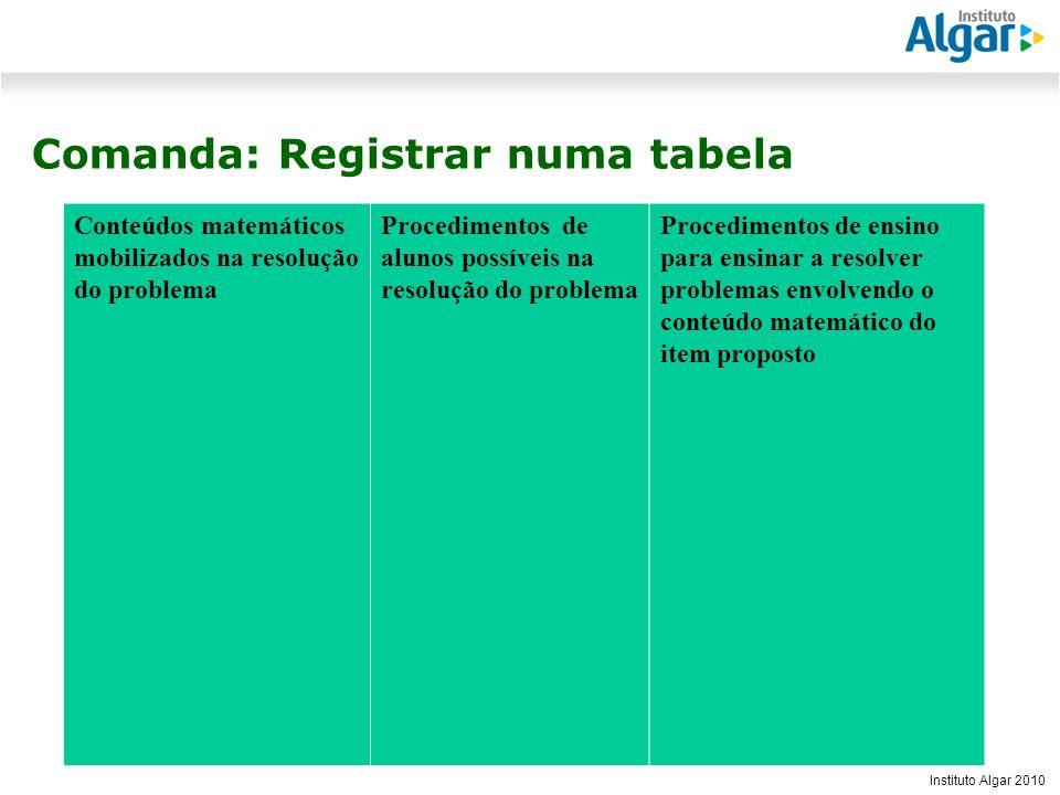 Comanda: Registrar numa tabela