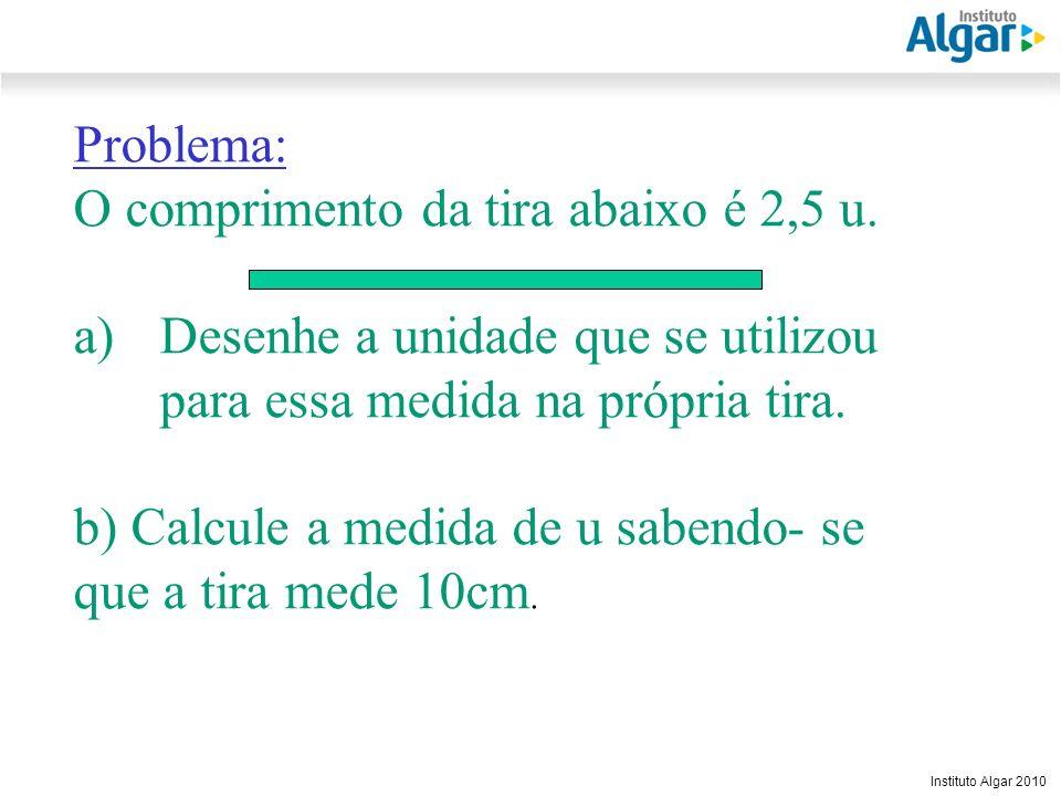 Problema: O comprimento da tira abaixo é 2,5 u. Desenhe a unidade que se utilizou para essa medida na própria tira.