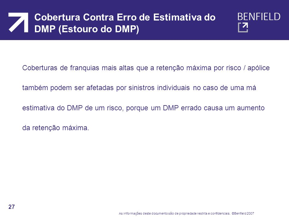 Cobertura Contra Erro de Estimativa do DMP (Estouro do DMP)