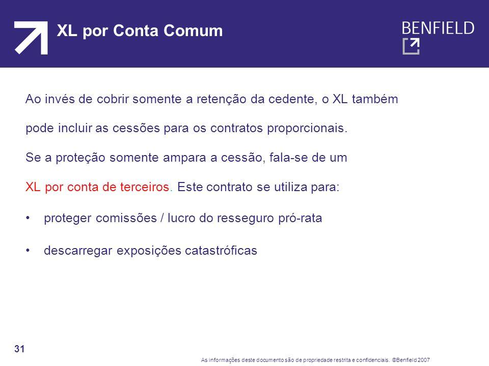 XL por Conta Comum Ao invés de cobrir somente a retenção da cedente, o XL também. pode incluir as cessões para os contratos proporcionais.