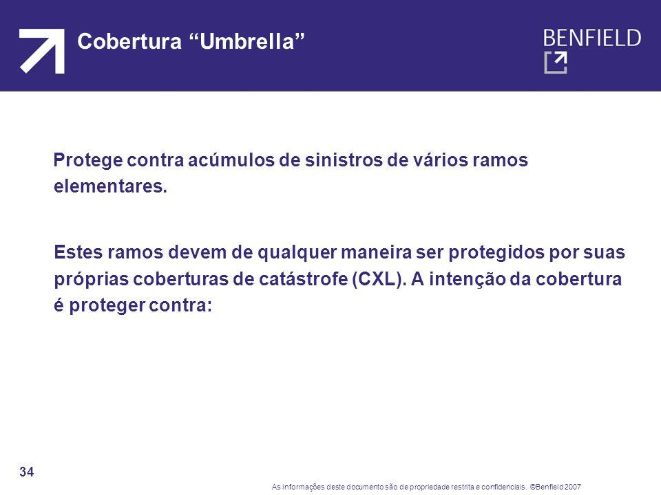 Cobertura Umbrella Protege contra acúmulos de sinistros de vários ramos elementares.