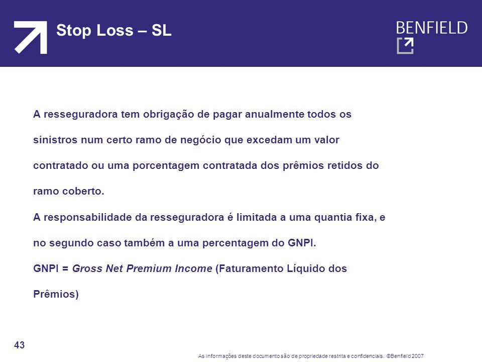 Stop Loss – SL A resseguradora tem obrigação de pagar anualmente todos os. sinistros num certo ramo de negócio que excedam um valor.