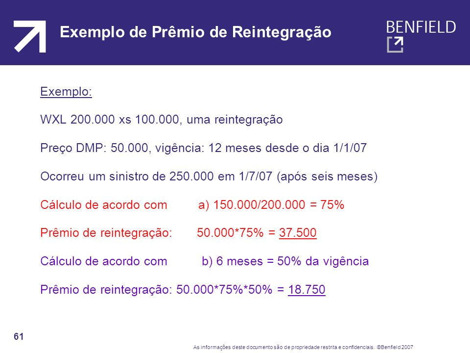Exemplo de Prêmio de Reintegração
