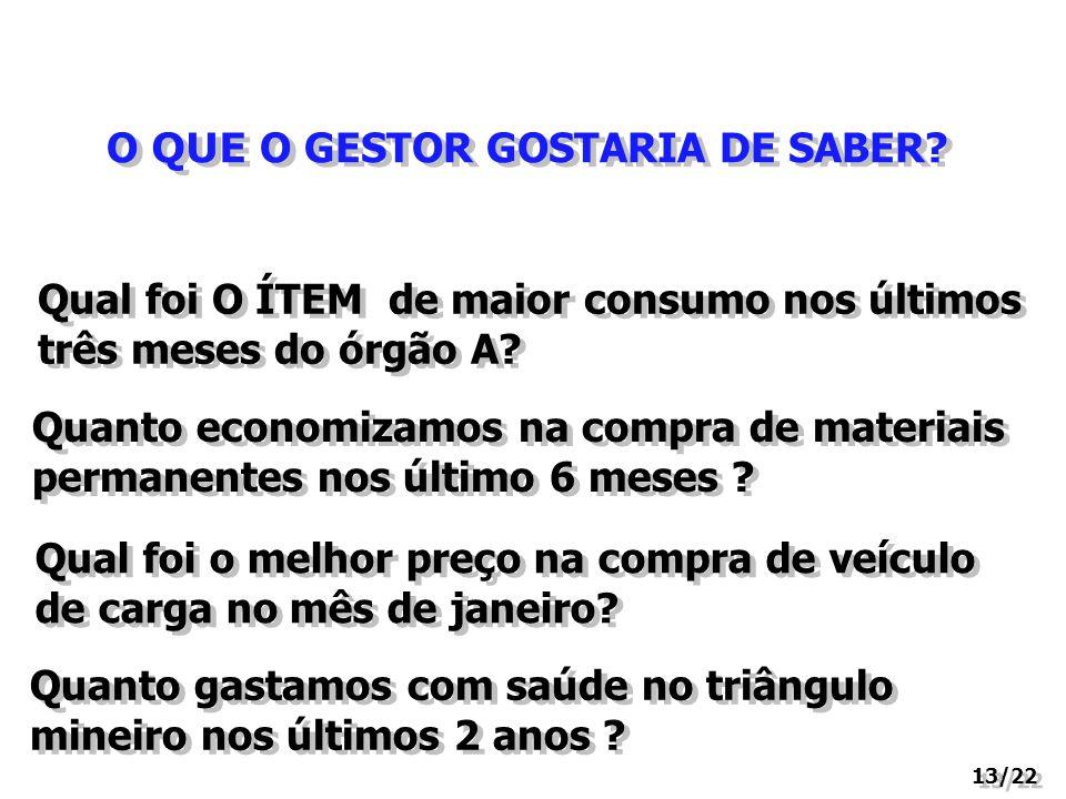O QUE O GESTOR GOSTARIA DE SABER