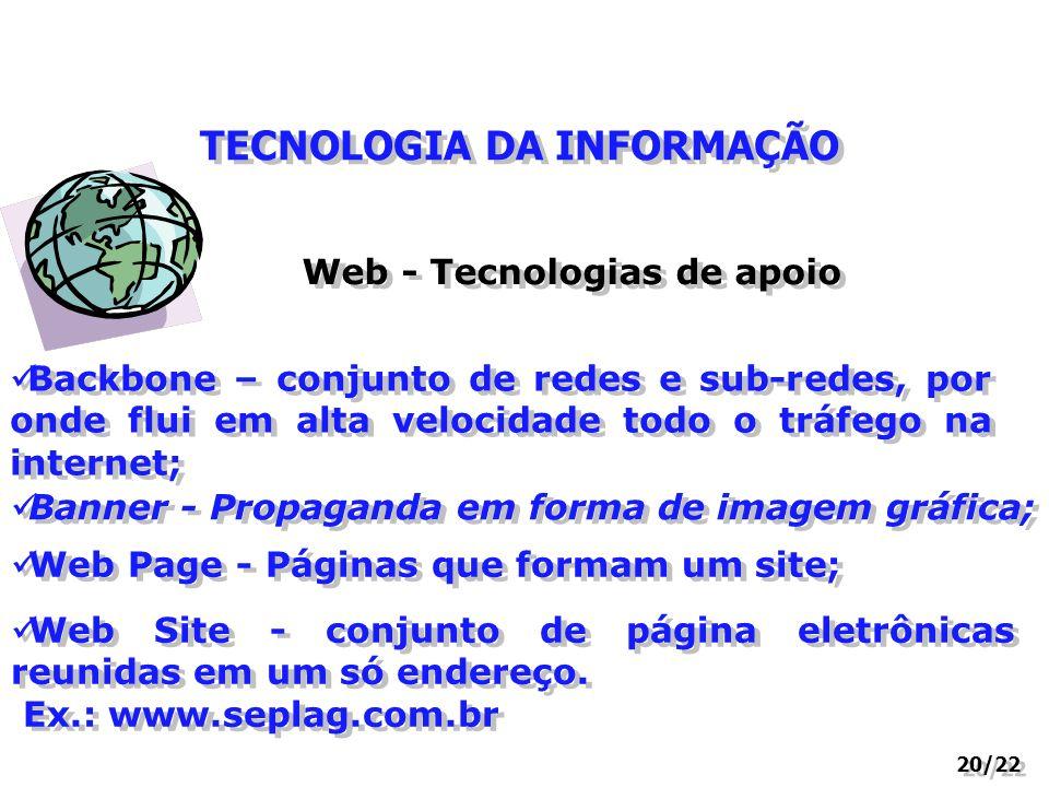 TECNOLOGIA DA INFORMAÇÃO Web - Tecnologias de apoio