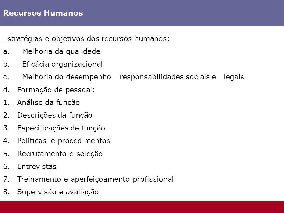 Recursos Humanos Estratégias e objetivos dos recursos humanos:
