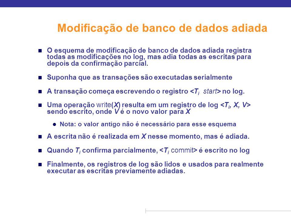 Modificação de banco de dados adiada