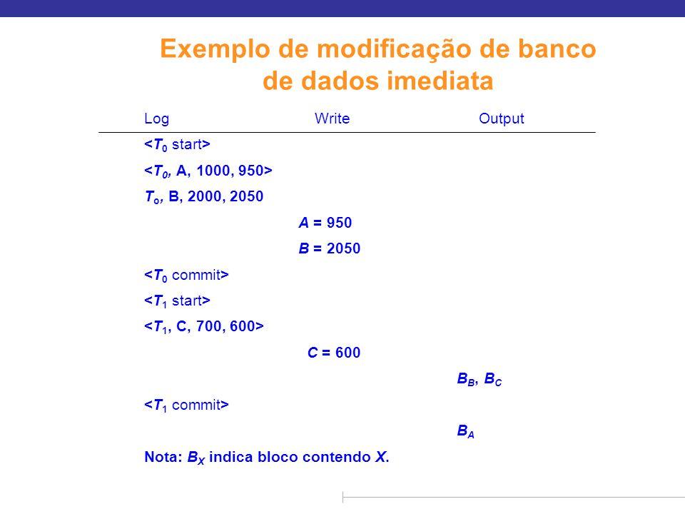 Exemplo de modificação de banco de dados imediata