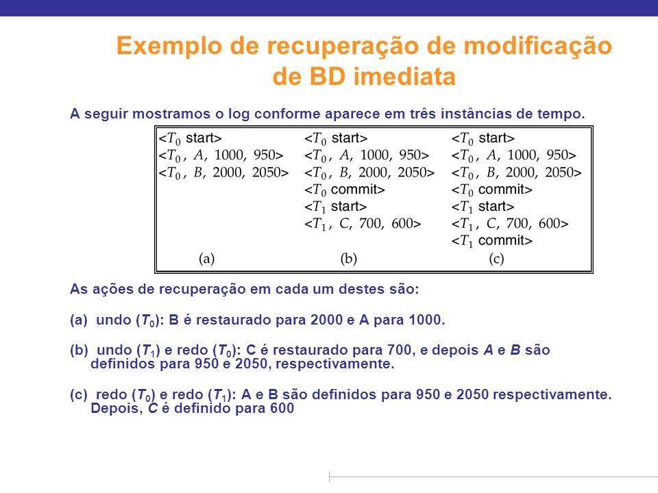 Exemplo de recuperação de modificação de BD imediata