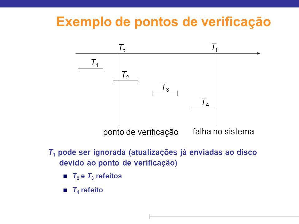Exemplo de pontos de verificação