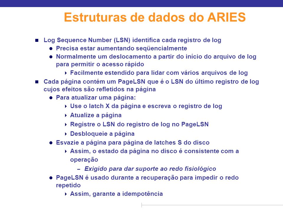 Estruturas de dados do ARIES