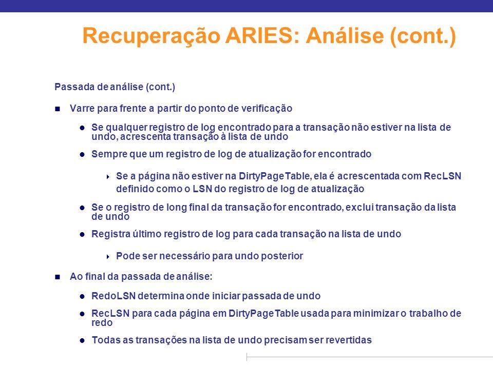 Recuperação ARIES: Análise (cont.)
