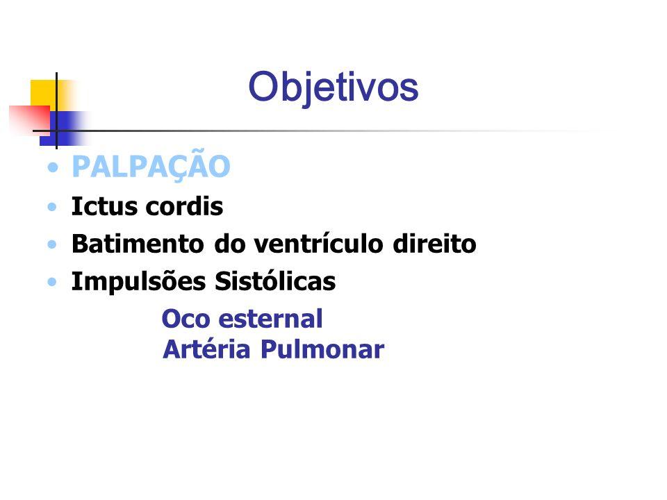 Objetivos PALPAÇÃO Ictus cordis Batimento do ventrículo direito