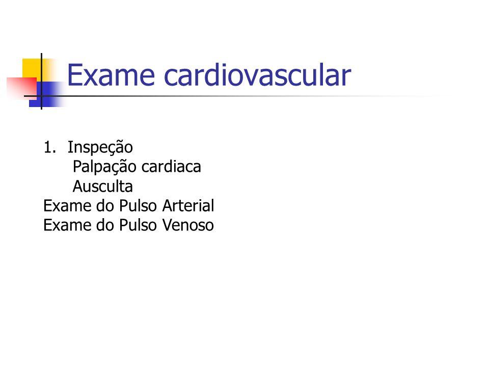 Exame cardiovascular Inspeção Palpação cardiaca Ausculta