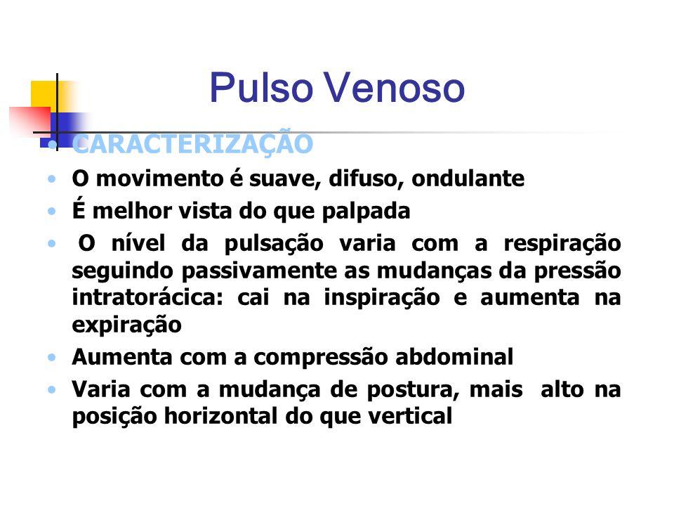 Pulso Venoso CARACTERIZAÇÃO O movimento é suave, difuso, ondulante