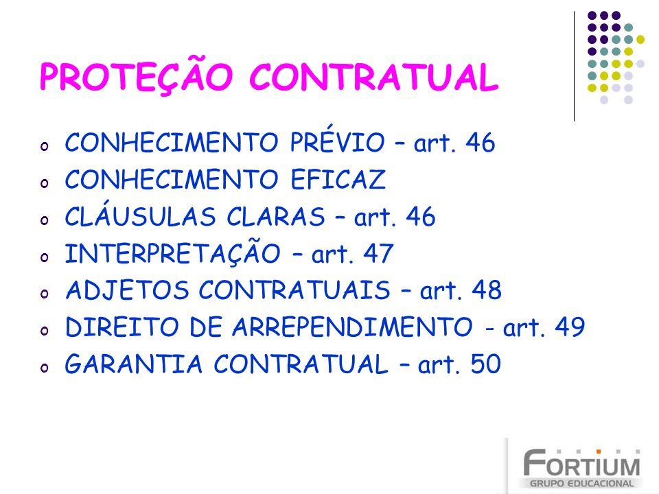 PROTEÇÃO CONTRATUAL CONHECIMENTO PRÉVIO – art. 46 CONHECIMENTO EFICAZ