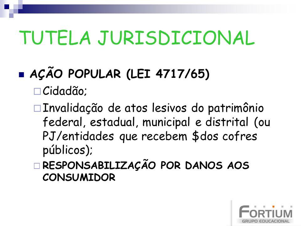 TUTELA JURISDICIONAL AÇÃO POPULAR (LEI 4717/65) Cidadão;