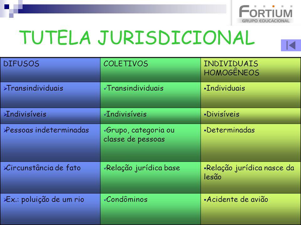 TUTELA JURISDICIONAL DIFUSOS COLETIVOS INDIVIDUAIS HOMOGÊNEOS